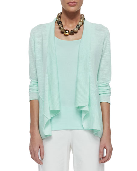 Eileen Fisher Linen Cotton Slub Cardigan, Pale Aqua