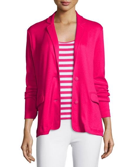 Joan Vass Knit Two-Button Jacket, Azalea