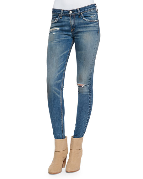 Brunswick Distressed Skinny Jeans, Blue