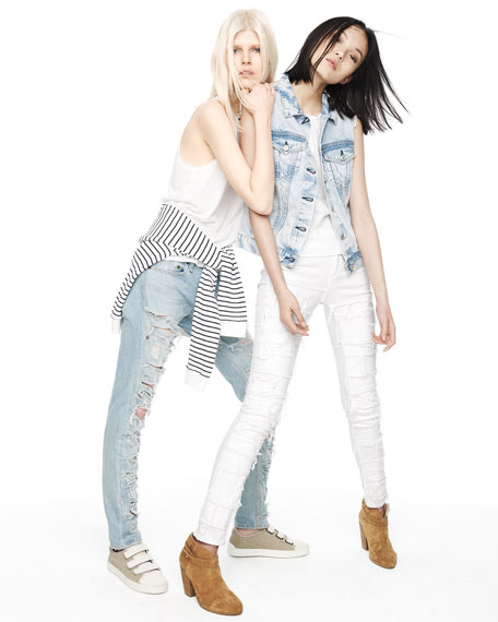 The Skinny Destroyed Mid-Rise Jeans