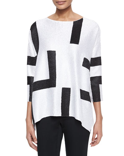 3/4-Sleeve Abstract Pullover Tunic