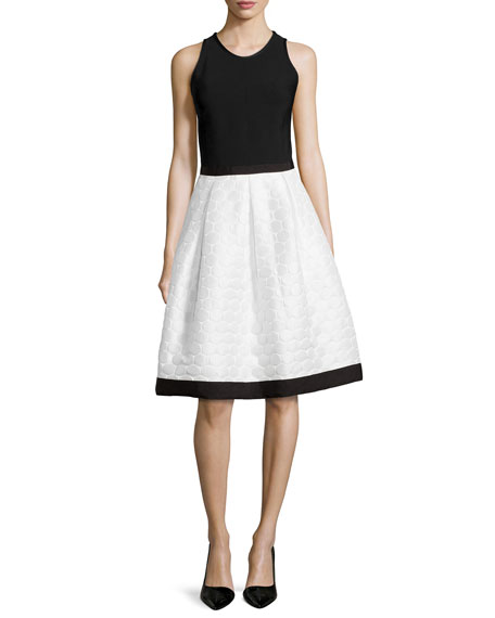 Carmen Marc ValvoSleeveless Dress W/ Polka Dot Skirt