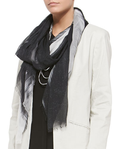 Modal Spray & Streak Scarf, Black