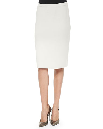 Knee-Length Silk Cotton Skirt, Bone, Women's