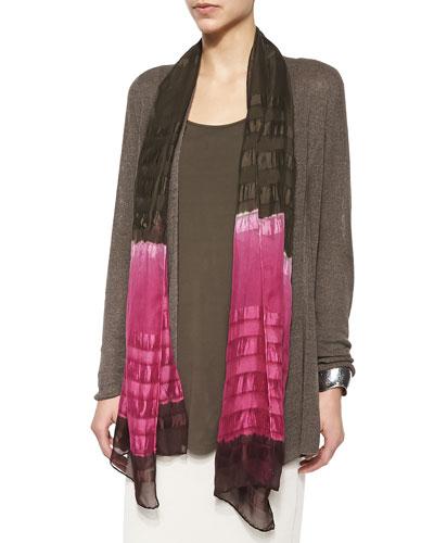 Shadow Striped Silk Scarf, Cerise/Rye