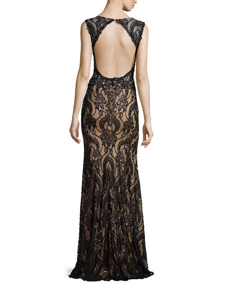 Lace Gown W/ Deep V Illusion