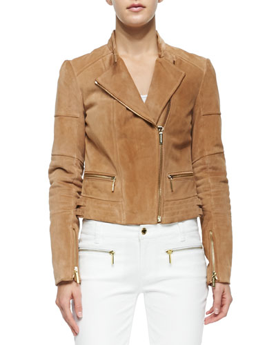 T9D1Y MICHAEL Michael Kors Quilted Panel Suede Moto Jacket