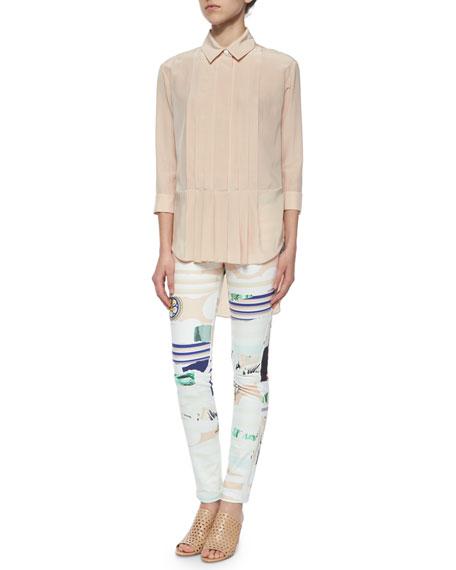 Mixed-Print Skinny Pants