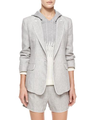 One-Button Linen Delave Jacket