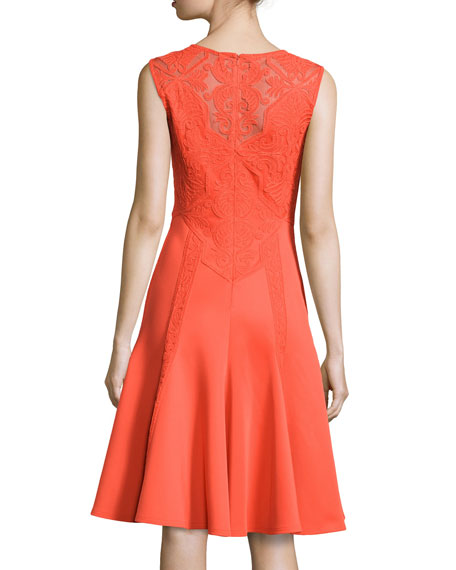 Lace-Detail Fit & Flare Dress