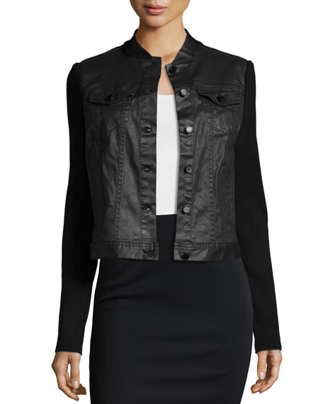 Elie Tahari Priscilla Calf Hair & Leather Jacket