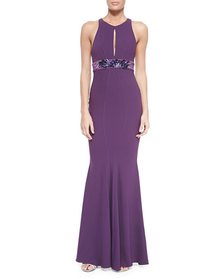 ZAC Zac Posen Sleeveless Mermaid Gown W/ Embellished Waist