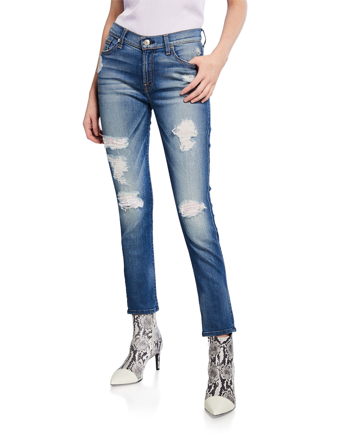 b91bf577ba9f 7 for all mankind The Ankle Skinny-Fit Destroyed Jeans