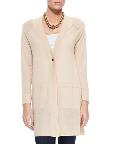 Merino Wool Long One-Button Cardigan, Petite