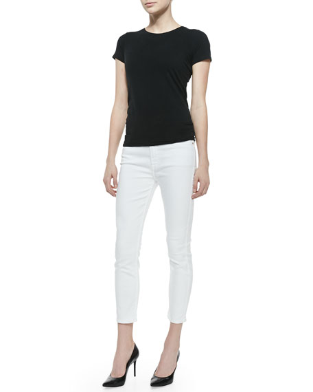 High-Rise Cropped Skinny Jeans, White