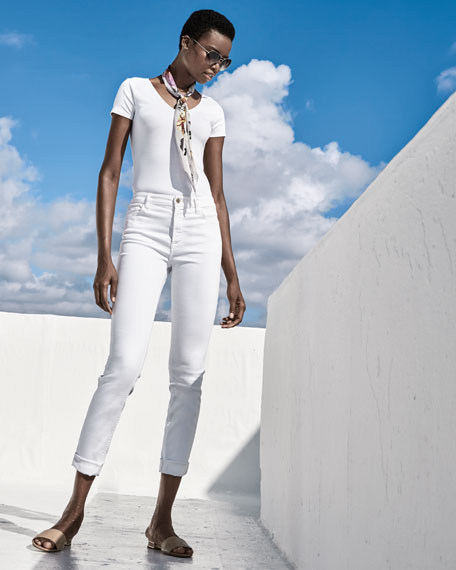 Jen7 by 7 for All Mankind High-Rise Cropped Skinny Jeans, White
