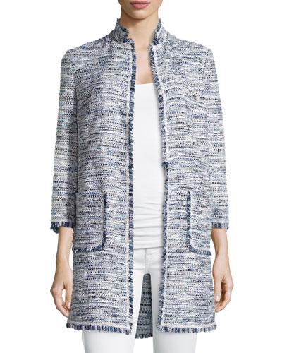 Fringe-Trim Long Boucle Jacket