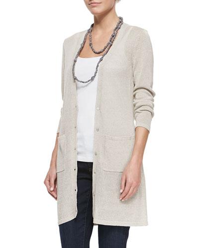 Long Linen-Blend Cardigan, Women's