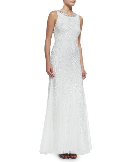 Aidan Mattox Sleeveless Beaded Gown with Cutout Back