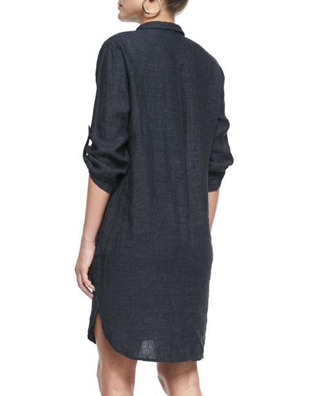 3/4-Sleeve Organic Linen Henley Dress, Denim, Plus Size
