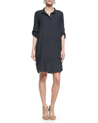 3/4-Sleeve Organic Linen Henley Dress, Denim, Plus Size
