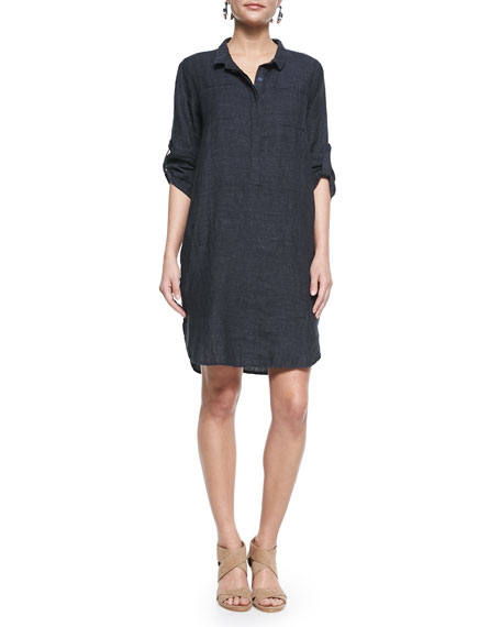 Eileen Fisher 3/4-Sleeve Organic Linen Henley Dress, Denim,