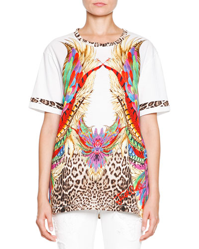 Feather and Leopard Printed Oversize Tee