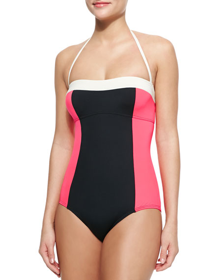 kate spade new york parrot cay colorblock one-piece swimsuit