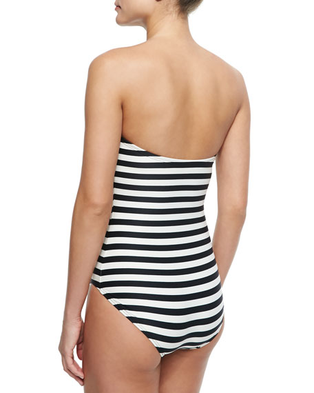 Striped One-Piece Swimsuit with Bow
