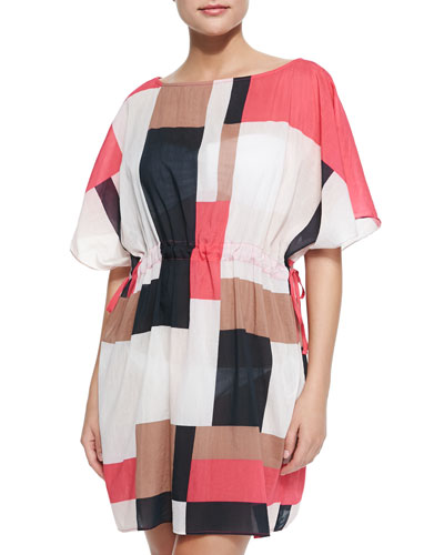 mykonos coverup dress with pull-cord waist