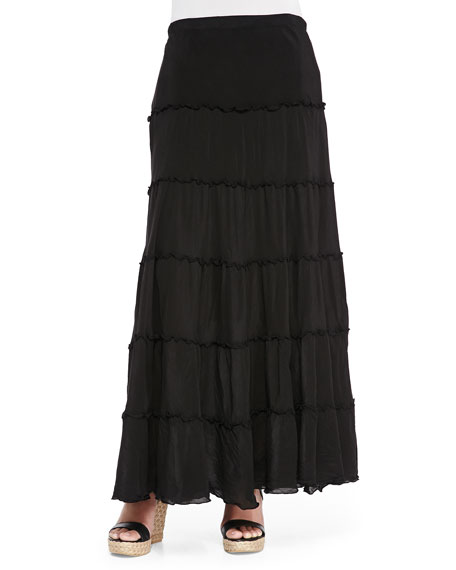 johnny was collection tiered maxi skirt black