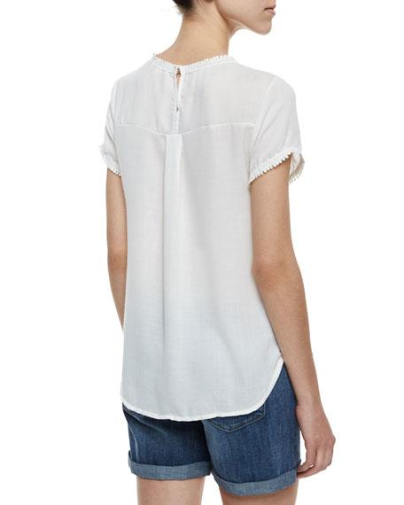Joy Short-Sleeve Top with Lace Yoke