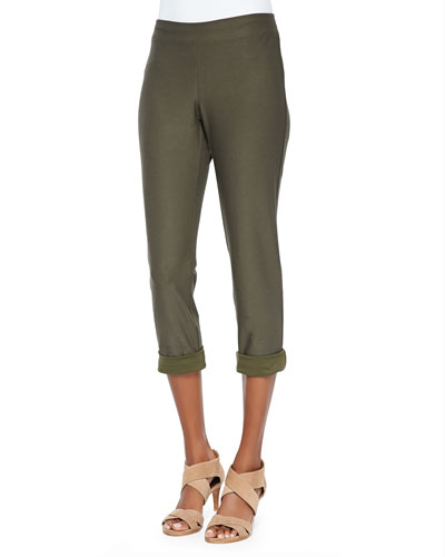 Washable Stretch-Crepe Ankle Pants, Petite