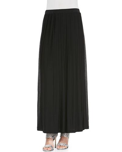 Silk Pleated Maxi Skirt, Women's