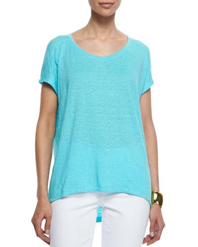 Organic Linen Jersey Cap-Sleeve Top, Petite