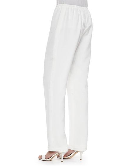 Silk Crepe Straight-Leg Pants, White, Petite