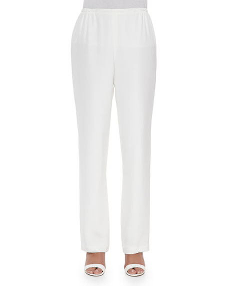 Caroline Rose Silk Crepe Straight-Leg Pants, White, Petite