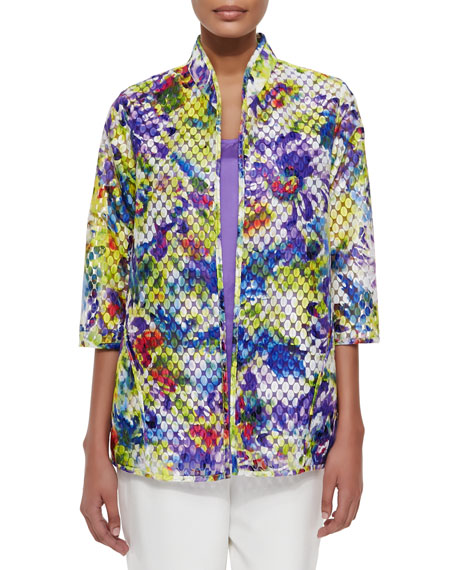 Caroline Rose Embroidered Organza Easy Jacket, Tissue Silk