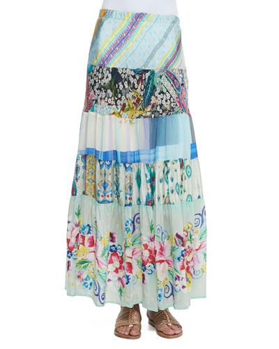 Floral-Print Tiered Silk Skirt, Women's