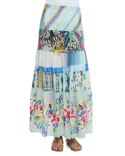 Floral-Print Tiered Silk Skirt