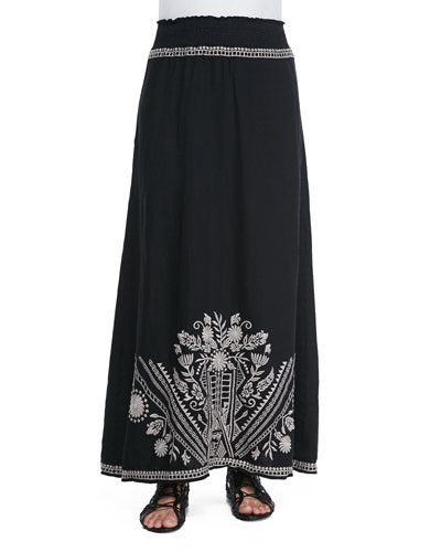 Embroidered Linen Maxi Skirt