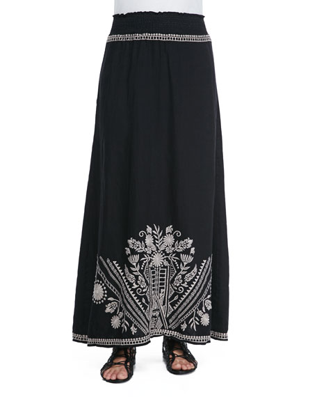 Johnny Was Collection Embroidered Linen Maxi Skirt