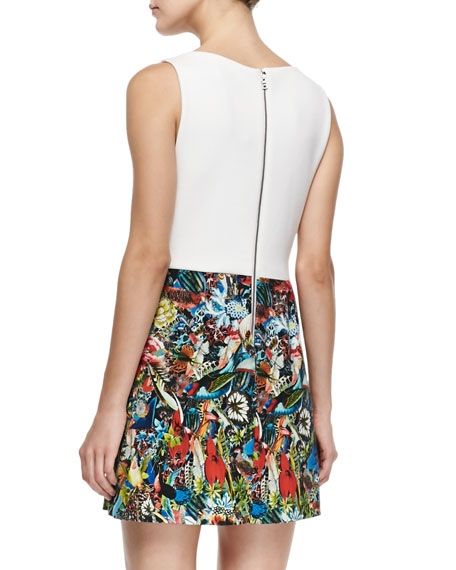 Molly Solid/Printed Slit Dress
