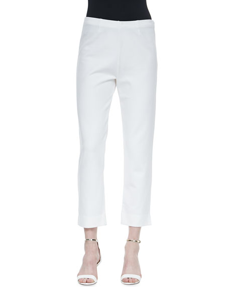 Joan Vass Slim Ponte Ankle Pants, White, Petite
