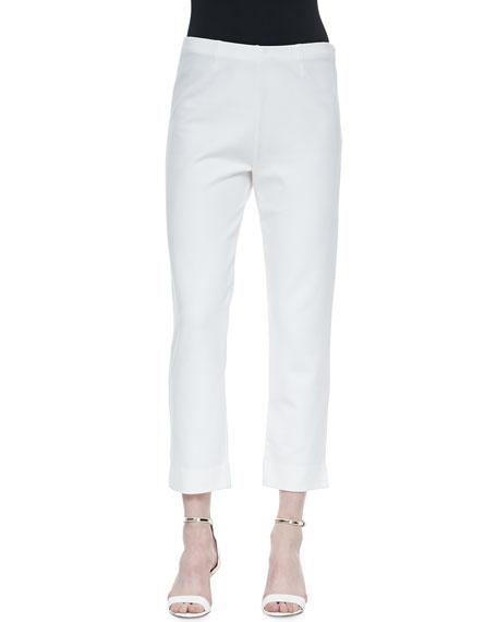 Slim Ponte Ankle Pants, White, Petite