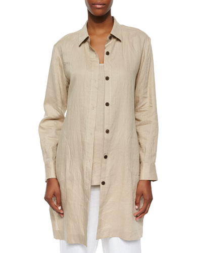 Long-Sleeve Linen Duster, Sesame