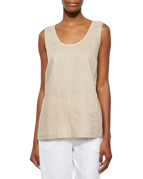 Go Silk Linen Scoop-Neck Tank, Sesame