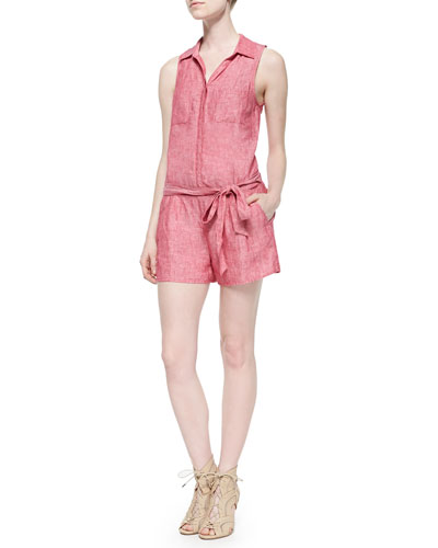 Toinette Sleeveless Linen Short Jumpsuit