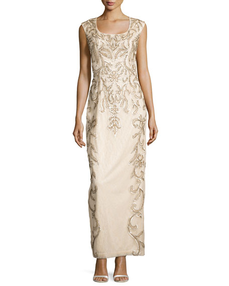 Sue Wong Draped-Back Beaded Long Column Gown, Champagne
