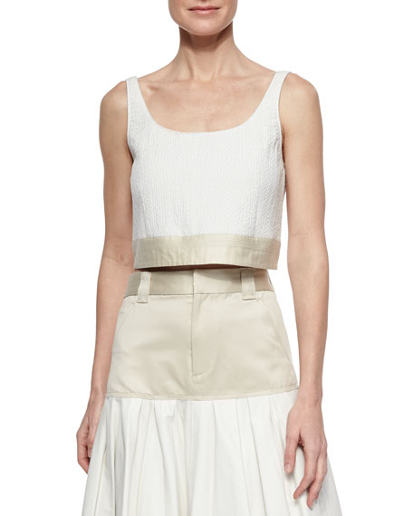 Rag & Bone Elsa Two-Tone Crop Top, White